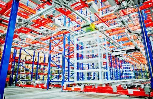图为科捷物流位于北京平谷的BotHive™ Systems标杆试验仓实景