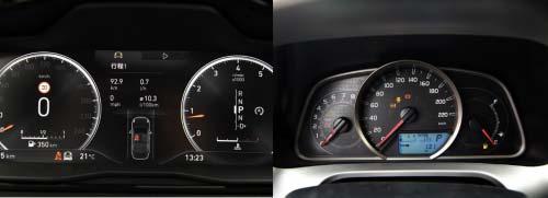左图为领克01纯仪表盘,右图为RAV4荣放先锋版仪表盘