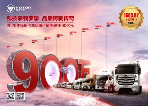 品牌持续向上 福田汽车品牌价值突破1600亿元