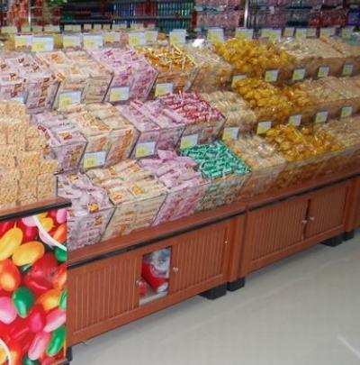 南京木制散装柜|果蔬架|零食货架|明圆货架