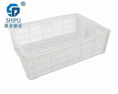 重庆塑料周转筐生产厂家 永川白色龙虾筐水产鱼虾筐图片