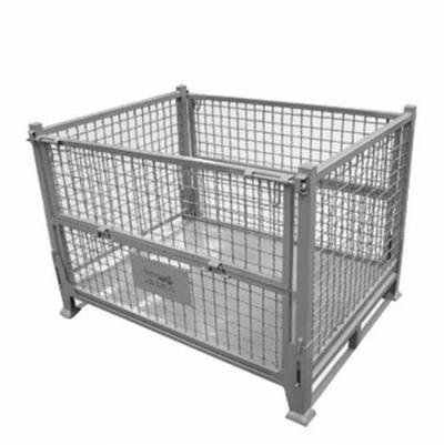 折叠式铁皮网格金属周转筐物流箱仓储笼堆垛铁箱废料箱网格料箱
