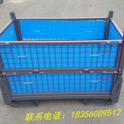 定制折叠式铁皮网格金属周转筐物流箱仓储笼物料周转箱堆叠废料箱